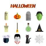 Ensemble plat d'icône de Halloween Photo stock