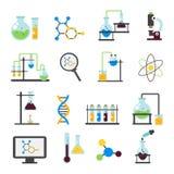 Ensemble plat d'icône de laboratoire de chimie illustration stock