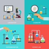 Ensemble plat d'icône de laboratoire de chimie illustration libre de droits