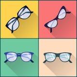 Ensemble plat d'icône de lunettes Images libres de droits