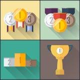 Ensemble plat d'icône de médailles Images stock