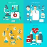 Ensemble plat d'icône de médecine illustration stock