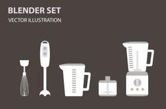 Ensemble plat d'icône de mélangeur, appareils de cuisine de ménage, art de vecteur Photo libre de droits