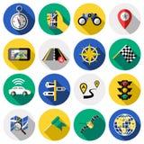 Ensemble plat d'icône de navigation illustration stock