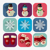 Ensemble plat d'icône de nouvelle année de bonhomme de neige, de mitaines et de flocons de neige Image libre de droits