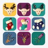 Ensemble plat d'icône de nouvelle année de cerfs communs, de bougies et de confettis de Noël Image stock