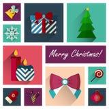 Ensemble plat d'icône de nouvelle année de la partie une de 10 éléments de Noël Photo stock