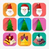 Ensemble plat d'icône de nouvelle année de Santa, d'arbre de Noël et de cloche de Noël Photo stock
