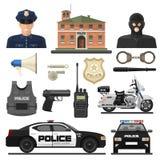 Ensemble plat d'icône de police Photos libres de droits