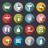 Ensemble plat d'icône de salle de bains Images libres de droits