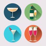 Ensemble plat d'icône de verres de vin Paquet de jour du ` s de Valentine Images stock