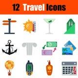 Ensemble plat d'icône de voyage de conception illustration libre de droits
