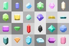 Ensemble plat d'icône Diamant pierres gemmes, et pierres dans beaucoup de variations illustration stock