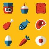 Ensemble plat d'icône. Nourriture Photos stock