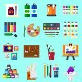 Ensemble plat d'icônes de peinture des industries graphiques Images stock