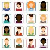 Ensemble plat d'icônes femelles Illustration Stock