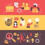 Ensemble plat de bannière d'entrevue d'emploi illustration stock