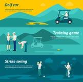 Ensemble plat de bannière de golf Image libre de droits