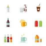 Ensemble plat de boissons d'icônes Images stock