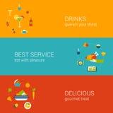 Ensemble plat de calibre de bannières d'icônes de concept de temps de repas illustration libre de droits