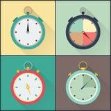 Ensemble plat de chronomètre d'icône Photo stock