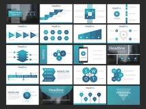 Ensemble plat de conception d'Infographic de présentation d'éléments bleus de calibres illustration libre de droits