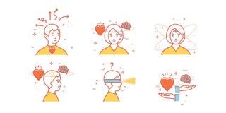Ensemble plat de conception d'intuition, analyse, anticipation, choix illustration stock
