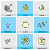 Ensemble plat de conception de ligne icônes de vecteur d'inve de dépenses de prêt de budget Photos stock