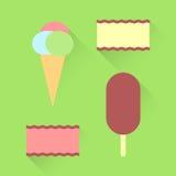 Ensemble plat de différents genres de crème glacée  Illustration Libre de Droits