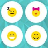 Ensemble plat de geste d'icône d'objets de grimace, de caresse, endormis et autre de vecteur Inclut également le sommeil, rire, é illustration libre de droits