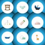 Ensemble plat de nourrisson d'icône de mobile, tissu, Toy And Other Vector Objects Inclut également le nourrisson, girafe, élémen Images stock