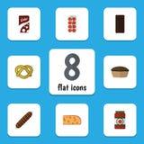 Ensemble plat de nourriture d'icône de tarte, de tomate, de biscuit et d'autres objets de vecteur Inclut également Apple, sauce,  Photos stock
