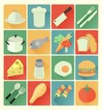 Ensemble plat de nourriture d'icônes Image stock