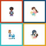 Ensemble plat de parent d'icône de voiture landau, de maman, d'enfant et d'autres objets de vecteur Inclut également le parent, m Image libre de droits