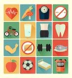 Ensemble plat de santé d'icônes Photographie stock