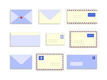 Ensemble plat de style d'enveloppes de lettres de snail mail, illustration de vecteur illustration libre de droits