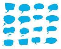 Ensemble plat de vecteur de bulles de la parole bleue illustration de vecteur