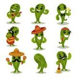 Ensemble plat de vecteur de cactus verts drôles dans différentes actions Personnages de dessin animé des usines succulentes human illustration libre de droits