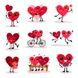 Ensemble plat de vecteur de coeurs humanisés mignons dans différentes actions Couples dans l'amour Thème de jour de valentines illustration libre de droits