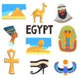 Ensemble plat de vecteur d'éléments égyptiens de culture Pyramides, chameau, homme dans le keffiyeh, Tutankhamen et Nefertiti, gr illustration libre de droits