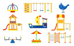 Ensemble plat de vecteur d'éléments de terrain de jeu d'enfants Carrousels, glissières, échelles, bac à sable en bois Équipement  illustration libre de droits