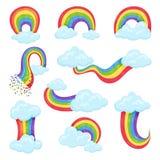 Ensemble plat de vecteur d'arcs-en-ciel multicolores avec les nuages pelucheux bleus Autocollants décoratifs de mur pour la pièce illustration libre de droits