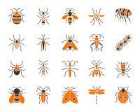 Ensemble plat de vecteur d'icônes de couleur simple d'insecte de danger illustration libre de droits