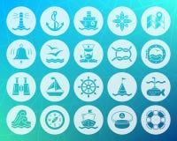Ensemble plat de vecteur d'icônes découpé par forme marine illustration de vecteur