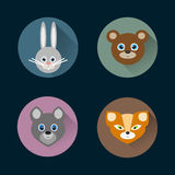 Ensemble plat de vecteur d'icônes d'animaux de style Photos stock