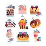 Ensemble plat de vecteur de divers desserts savoureux avec des gradients et la texture Gâteaux, petit gâteau, butées toriques, gl illustration stock