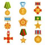 Ensemble plat de vecteur de médailles militaires avec les rubans colorés Ordres d'or brillants Symboles de victoire Thème de jour illustration de vecteur