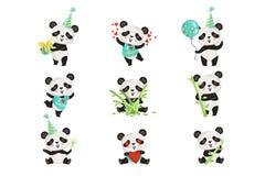 Ensemble plat de vecteur de petit panda dr?le dans diverses situations Personnage de dessin anim? d'ours en bambou mignon Concept illustration stock
