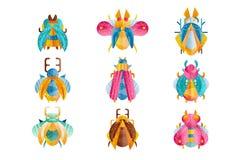 Ensemble plat de vecteur de scarabées avec les ailes, les klaxons et les pattes lumineux Insectes de vol colorés Flaticons avec d illustration stock