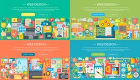 Ensemble plat horisontal de bannières de conception de l'avant-projet de conception web Services d'applis de téléphone portable e illustration de vecteur